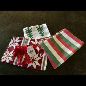 Tag holiday joy cotton 3 piece dish towel set